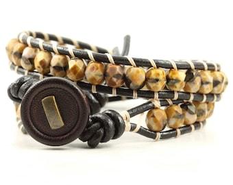 Black and Tan Wrap Bracelet Brown Boho Fall Fashion Leather Bracelet Bohemian Jewelry Beaded Bracelet Khaki Wrap Autumn Jewelry