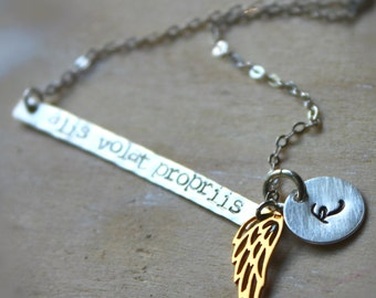 FREE SHIPPING. Sterling Silver and 14K Gold Wing.  Alis Volat Propriis Necklace. She Flies With Her Own Wings. Latin Quote. Inspriational