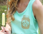 Monogrammed Tank with Mason Jar Design, Comfort Colors, Mason Jar Monogram, Summer Tank, Mason Jar Tank, Gift for Her, Birthday Gift