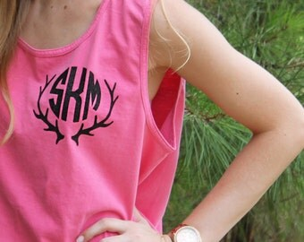 Monogrammed Tank with Antler Design - Comfort Colors Tank