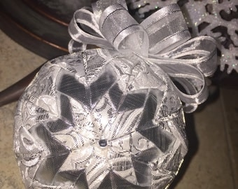 Silver Lining fabric quilted holiday christmas ornament- LAST ONE