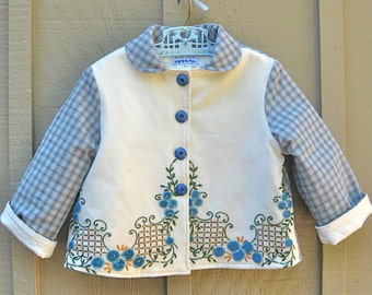 Size 5 Embroidered Girl Jacket Coat French Knots