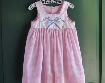 Size 4 Pink Gingham Jumper Dress Vintage Bow Embroidery