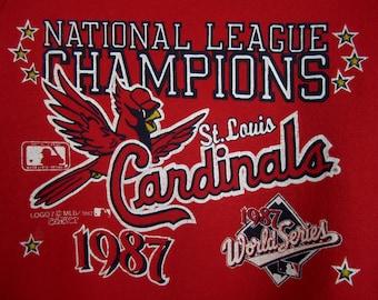 vintage 1980s red st. louis CARDINALS sweatshirt 1987 national league champions WORLD series fredbird U S A logo classic super SOFT sweater