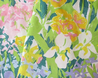 Vintage Spring Flowers Print Full Flat Sheet  - Purple, Yellow, Green, Pink