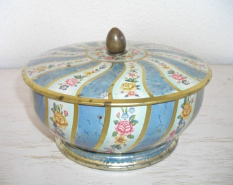 english tin - blue and gold floral design made in england - shabby cottage chic pink roses flower bouquets - bright and cheery container