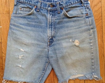 "Vintage 1970s Levi's high-waisted cut-off jean shorts, 34"" waist"