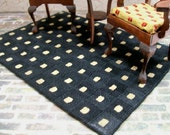 Black Tan Rug Carpet Modern Checked 1:12 Dollhouse Miniature Artisan