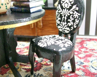 Black Damask Chairs White Upholstered Furniture 1:12 Dollhouse Miniatures Artisan