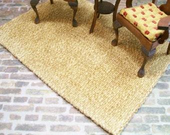 Honey Golden Brown Beige Rug Carpet  1:12 Dollhouse Miniatures Artisan