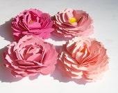 4 Pink ombre gardenia paper flowers, wedding decoration, scrapbook decoration, table decoration, paper gardenias,paper flowers,embellishment