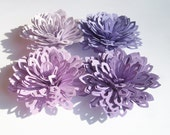 4 Purple ombre paper lily flowers,wedding decoration,scrapbook decoration,table decoration,purple ombre flowers,paper flowers,embellishment