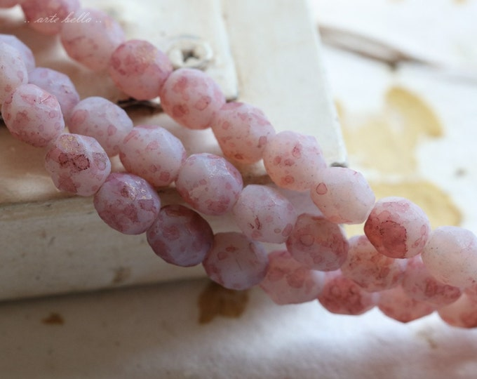 SPECKLED PINK PEBBLES .. 25 Premium Stone Picasso Czech Glass Beads 6mm (4715-st)