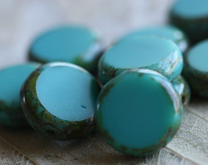 sale .. SLICED TURQUOISE No. 1 .. 10 Picasso Czech Glass Coin Beads 10mm (4571-10)