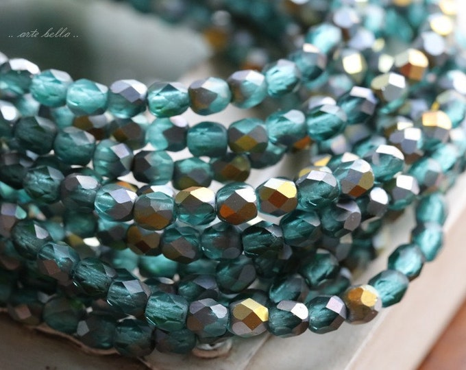MERMAID No. 2 .. 50 Premium Picasso Faceted Czech Glass Beads 4mm (4744-st)