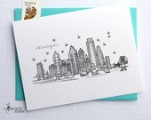 Philadelphia, Pennsylvania - United States - City Skyline Series - Folded Cards (6)