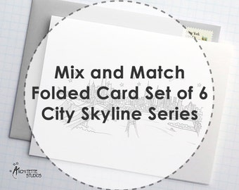 Mix and Match - City Skyline Series - Folded Cards (6)