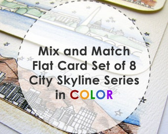 Mix and Match - Color City Skyline Series - Flat Stationery Cards (8)