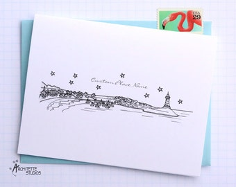 Generic Beach / Coastal Town - City Skyline Series - Folded Cards (6)