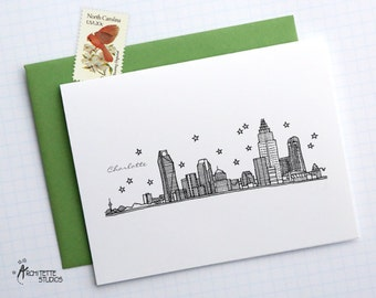 Charlotte, North Carolina - United States - City Skyline Series - Folded Cards (6)