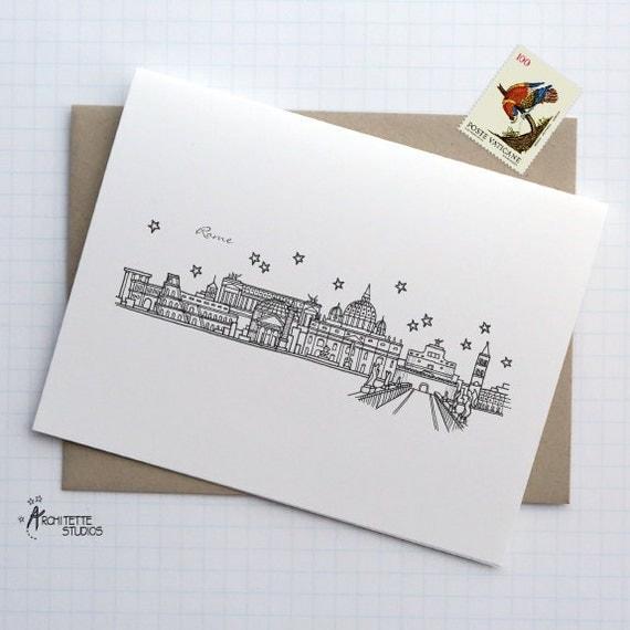 Rome, Italy - Europe - City Skyline Series - Folded Cards (6)
