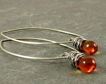 Orange Earrings, Teardrop Earrings, Drop Earrings, Fall Earrings, Eco Friendly Jewelry, Gifts for Her