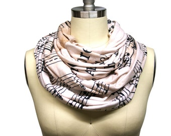 Custom Winter Infinity Sheet Music Scarf Vivaldi Musician Gift - Soft Knit Fabric Ready to Ship