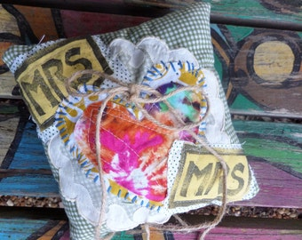 Gay Wedding, Ring bearer pillow, two brides, mrs and mrs, shabby wedding, lesbian gift, crazy quilted, boho wedding, heirloom, A39, keepsake