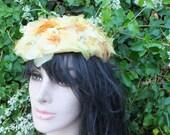 Vintage Yellow Silk Flower Hat with Orange Velvet Ribbon, Garden Party Hat, Garden Wedding or Luncheon