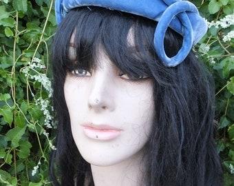 Vintage 1960s Blue Velvet Hat, AMY New York