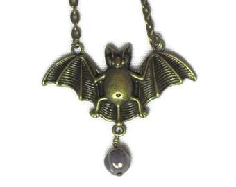Gothic Bat Necklace. Vampire Bat Pendant Necklace, Lavender Picasso Melon Bead. Antique Bronze Color Halloween Flying Bat Charm Necklace.