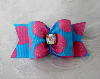 """7/8"""" Pink Bubble Gum Dog Bow"""