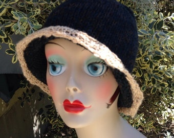 Knit Cloche Wool and Cotton Ladies Hat Blue and Cream
