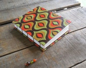 Small Hand Bound Blank Coptic Stitch Brown Green And Orange Funky Print Journal, Small Boho Earth Toned Art Journal, Retro Print Sketchbook