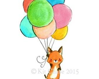 Nursery Art -- Foxy Balloons -- Art Print