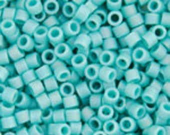 10 Grams Japanese Miyuki Delica 10/0 Beads - Turquoise Green Opaque AB Matte - Round 2.2mm (DBM0-878)