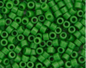 10 Grams Japanese Miyuki Delica 10/0 Beads - Green Pea Opaque - Round 2.2mm (DBM0-724)