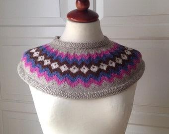 SALE Hand Knit Fair Isle Decorative Collar