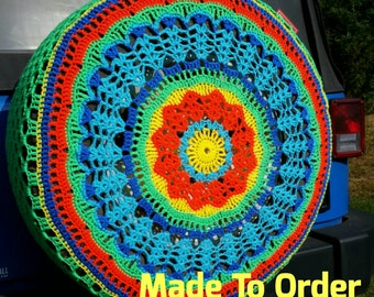 Feather Crochet Spare Tire Cover
