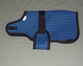 "24"" Blue Houndstooth Winter Water-Resistant Goat Coat | Sheep Blanket | Nigerian Pygmy Jacket | Doe Buck Ewe Farm Supplies"