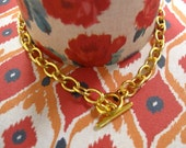 Gold Plated Oval Cable Chain Bracelet with Toggle
