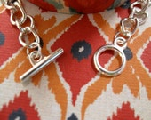 Silver Plated Curb Chain Bracelet with Toggle