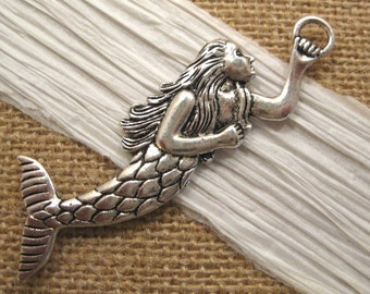 Pewter Mermaid Pendant in Antique Silver