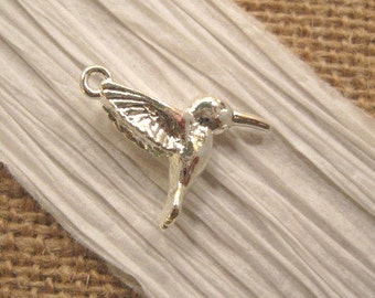 Hummingbird Charm from Nunn Design in Sterling Silver Plating