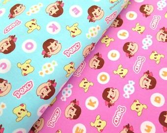 Licensed fabric Peko Chan print Japanese Fabric Half meter ©fujiya made in japan nc55