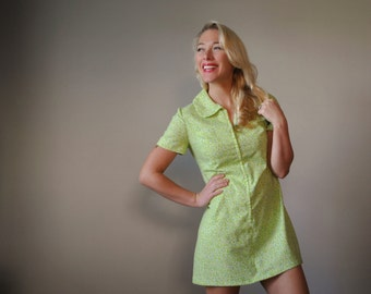 1960s Key LIme Floral Mini Dress~Size Extra Small