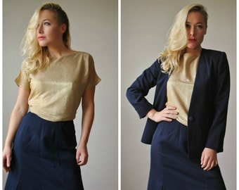 1980s Classic Navy Suit Set~Size Extra Small to Small