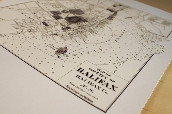 Old map of Halifax antique map print on eco bamboo paper Canadian made in Canada souvenir Halifax the Hammer Steeltown