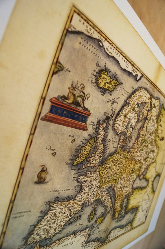 "Antique Map Print of Europe on eco bamboo paper with textured edge Made in Canada! 8.5"" x 11"" & 11"" x 17"" EU France Italy Spain UK"