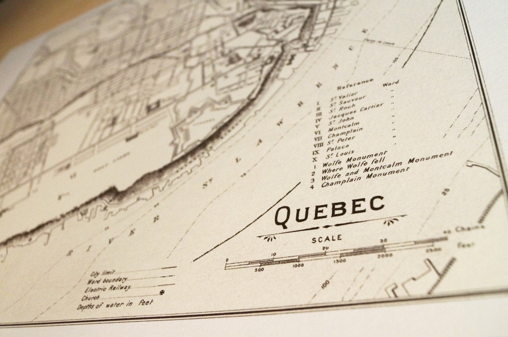 Old map of Quebec City antique map print on eco bamboo paper